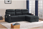 Lilola Home Kaden Black Fabric Sleeper Sectional Sofa Chaise With Storage Arms A
