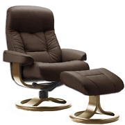 Fjords Muldal Small Leather Recliner Chair With Ottoman In Havana Dark Brown Nl
