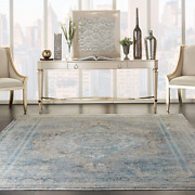 Nourison Starry Nights Vintage Bordered Cream Blue 9and039 X 12and039 Area Rug 8and0396 X 11