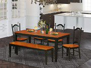 6 Pc Dining Room Set With Bench-kitchen Tables And 4 Dining Chairs Plus Bench In