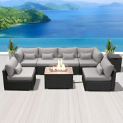 Modenzi Patio Furniture Outdoor Sectional With Propane Fire Pit Table Espresso B