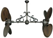 Twin Star Iii Dual Ceiling Fan In Oil Rubbed Bronze With 50 Arbor Blades In Dar