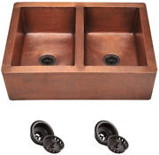 912 Equal Double Bowl Copper Apron Sink Strainers