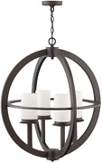 Hinkley Compass Collection Four Light Outdoor Medium Chandelier Oil Rubbed Bron