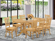 9 Pc Dining Room Set-double Pedestal Oval And Leaf And 8 Dining Chairs