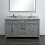 Palmer 60 Gray Bathroom Vanity With Carrara Marble By Mission Hills Furniture