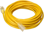 Coleman Cable 02689 10/3 Vinyl Outdoor Extension Cord With Lighted End 100-foot