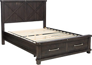 Modus Furniture Yosemite Solid Wood Footboard Storage Bed, Queen, Cafe