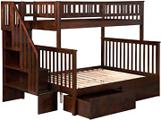 Atlantic Furniture Woodland Staircase Bunk Urban Bed Drawers, Twin/full, Antique