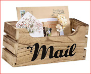 Farmhouse Decor Rustic Mail Holder Box Rustic Wood Tabletop Mail Organizer With
