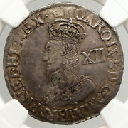 1635 Great Britain Uk King Charles I Old Silver Shilling England Coin Ngc I94003