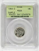 1964-d Pcgs Ms64 Sample Uncirculated Roosevelt Dime