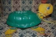 Vtg Fisher Price Timmy Turtle Musical Pull Toy Gr Shell 150 Made In Usa 350