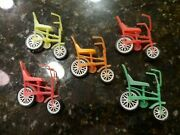 Vintage Lot 5 Toy Bicycles Bikes Made In Hong Kong Carrousel T698
