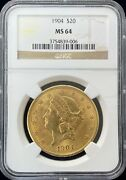 1904 Liberty Head 20 Gold Coin Ngc Ms 64