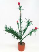 Small Antique 8 Inch German Feather Christmas Tree, Vintage Goose Feathers
