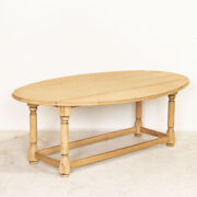 Antique Scrubbed Oak Drop Leaf Oval Coffee Table From France