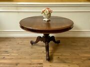 Antique English Victorian Mahogany Round Pedestal Dining Table Or Center Table