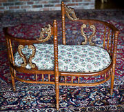 Tete A Tete Antique 1890 S Shape Double Chair Sofa Carved Woven Upholstery