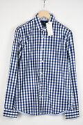Scotch And Soda Amsterdam Couture Men Medium Blue Painted Button-up Shirt 18000