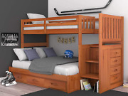 Discovery World Furniture Mission Twin Over Full Staircase Bunk Bed With 3 Drawe