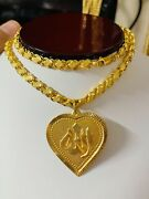 22k 916 Fine Saudi Real Gold 20andrdquo Long Womenandrsquos Heart Allah Necklace 6mm 17.71g