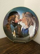 Vintage 1981 Chuck Oberstein Hand Signed Porcelain Plate 167 Kiss For A Clown