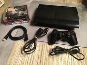 Sony Playstation 3 Ps3 Super Slim 1tb Console W/ Oem Controller Cords 4 Games