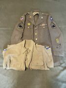 Original Us Ww2 Enlisted Mans Dress Tunic And Shirt 7th Air Force Large Sizes
