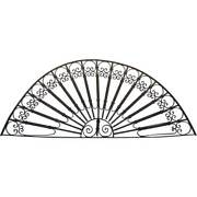 Antique French Colonial Wrought Iron Arched Architectural Transom 19th Century