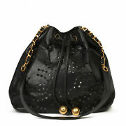 Black Cc Perforated Caviar Leather Vintage Timeless Bucket Bag Hb3741