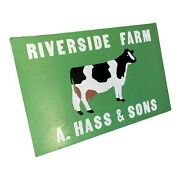 Farm Sign Vintage Holstein Dairy Cow Riverside Farm Hand Painted Two-sided Wi