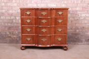 Baker Furniture Georgian Walnut Bow Front Commode Or Chest Or Drawers