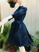 Vintage 1950s Christian Dior C.1959 Ysl Blue Silk Fitted Day Dress Pockets 2/4