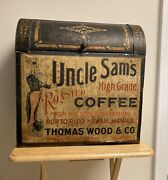 Antique Uncle Samand039s Coffee General Store Display Large Tin Box Advertising