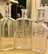 Lot Of 3 Antique Glass Bottles Clear Extracts Perfume Medicine Bottles