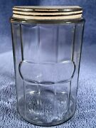 Vintage Hoosier Clear Glass Coffee Tea Canister Jar W/ Lid 7 No Name / Label