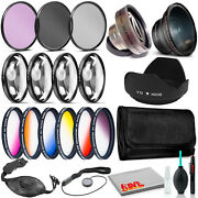 52mm Accessories Kit With Wide Angle And Telephoto Lens Tulip Hood And More