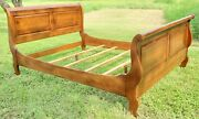 Ethan Allen Country French Queen Sleigh Bed Frame 26-5611 Fruitwood Finish 236
