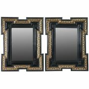 Pair Antique Dutch Baroque Style Gilt And Black Lacquered Beveled Mirrors C. 1870