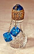Irice Stubby Antique Czech Perfume Bottle Blue Dice And Top Crystal Rare/mint