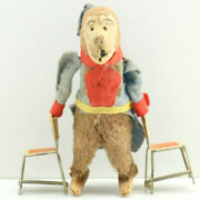 Vintage Antique 1940s Japan Wind Up Tin Tumbling Circus Monkey W/ 2 Chairs Toy