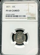 1871 10c Seated Liberty Dime Graded Ngc Proof 64 Cameo