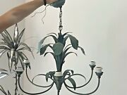 Vintage Tole Palm Leaves Chandelier Ceiling Light 6 Arms Hollywood Regency Xl