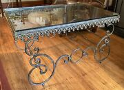 Wrought Iron Glass Mid-century 1940andrsquos French Coffee Table In Style Of Poillerat