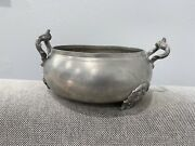 Antique Russian Signed Pewter Open Bowl / Dish On Applied Feet
