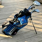 Us Kids Left Handed Ul-24 Junior Golf Set W/ Eight 8 Clubs And Blue Stand Bag Lh