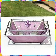 Set Of 2 Vintage Y2k Frosted Purple Glass Jeweled Floral Candle Plates Holders