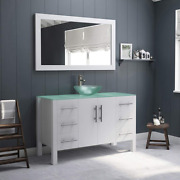 48 White Solid Wood And Tempered Glass Single Vessel Sink Bathroom Vanity W/brush