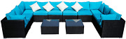 Outdoor Wicker Patio Furniture Set Large Sectional Blue Cushioned Black Rattan C